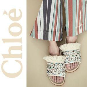 Chloe Fringe Cork Slide Sandals Size 10